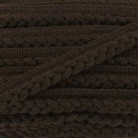 Galon dépassant tressé laine - marron x 1m