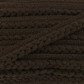 Ribbon protruding braided wool - brown x 1m