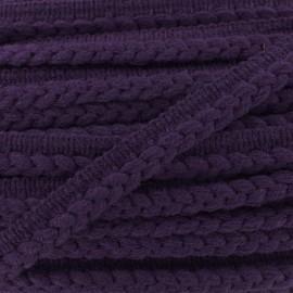 Galon dépassant tressé laine - violet x 1m