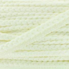 Galon dépassant tressé laine - blanc x 1m