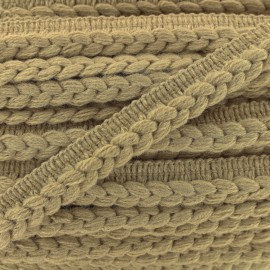 Galon dépassant tressé laine - sable x 1m