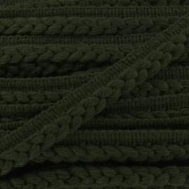 Galon dépassant tressé laine - vert x 1m