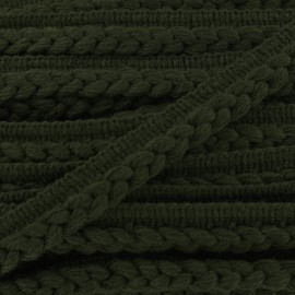 Ribbon protruding braided wool - green x 1m