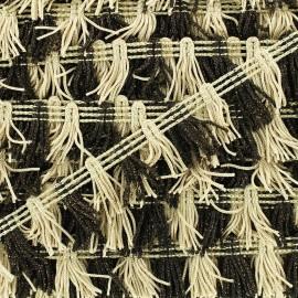 Little pompom fringe braid ribbon - beige/brown x 1m