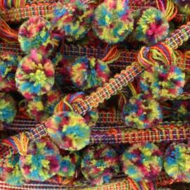 Galon pompon Carnaval - multicolore x 50cm