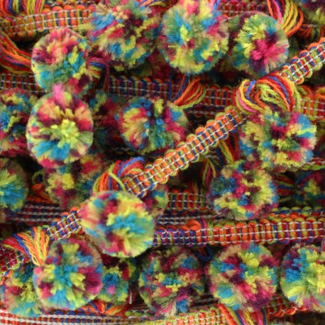Pompom braid trimming Carnaval - multicolor x 50cm