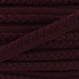 Galon dépassant tressé laine - bordeaux x 1m