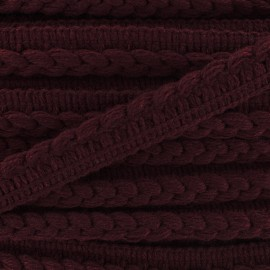 Ribbon protruding braided wool - bordeaux x 1m