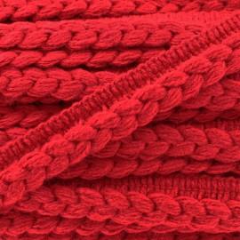 Galon dépassant tressé laine - rouge x 1m