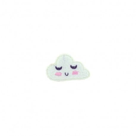 Tiny wonderland embroidered iron-on patch - cloud