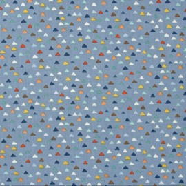 Tissu coton Makower UK Baby Jungle Triangles - bleu x 10cm