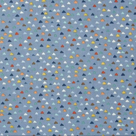 Makower uk cotton fabric baby jungle triangles blue for Baby fabric uk