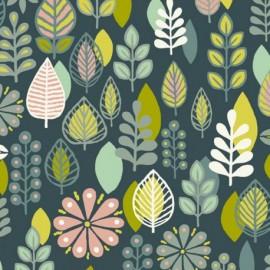 Tissu coton Makower UK Modern Retro Foliage - vert x 30cm