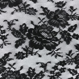 Tissu Oeko-Tex Dentelle de Calais® Floraison -  noir x 10cm