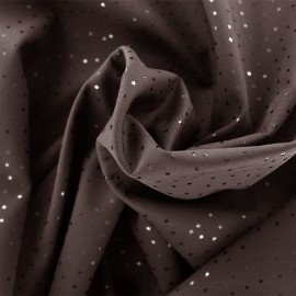 ♥ Coupon de tissu 130 cm X 145 cm ♥ Tissu Softshell Shiny Little stars - marron
