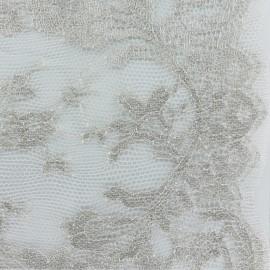 Tissu Oeko-Tex Dentelle de Calais® Bouquet -  argent x 10cm