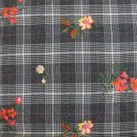 Prince de galles Wool fabric Tailleur - grey/white x 30cm