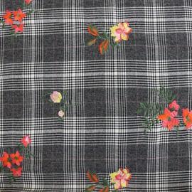 Tissu Lainage Tailleur Prince de galles - gris/blanc x 30cm