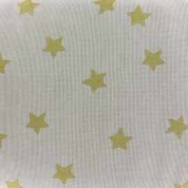 Tissu toile de coton Aspect Lin Rico design Stars - étoiles or x 10cm