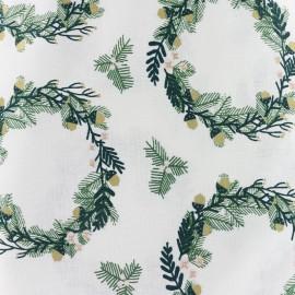Tissu coton Rico Design Classical Christmas - blanc petite couronne x 10cm