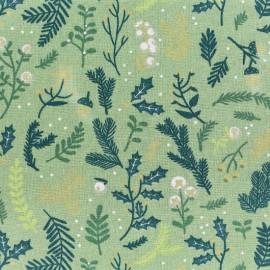 ♥ Coupon de tissu 120 cm X 140 cm ♥ Tissu coton Rico Design Classical Christmas - vert rameau doré