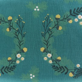 Tissu coton Rico Design Classical Christmas - vert grande couronne x 30cm