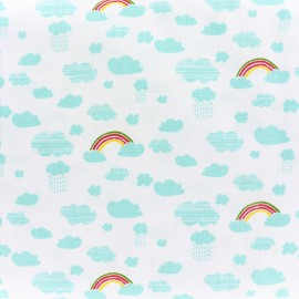 Tissu coton Rico Design Camping dans la forêt - arce-en-ciel blanc x 10cm