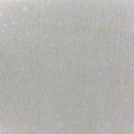 Tissu toile de coton Aspect Lin Rico design - pois argent x 10cm