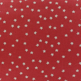 Rico design cotton Linen effect fabric - red stars natural x 10cm