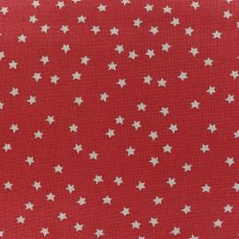 Tissu toile de coton Aspect Lin Rico design - rouge étoiles naturel x 10cm