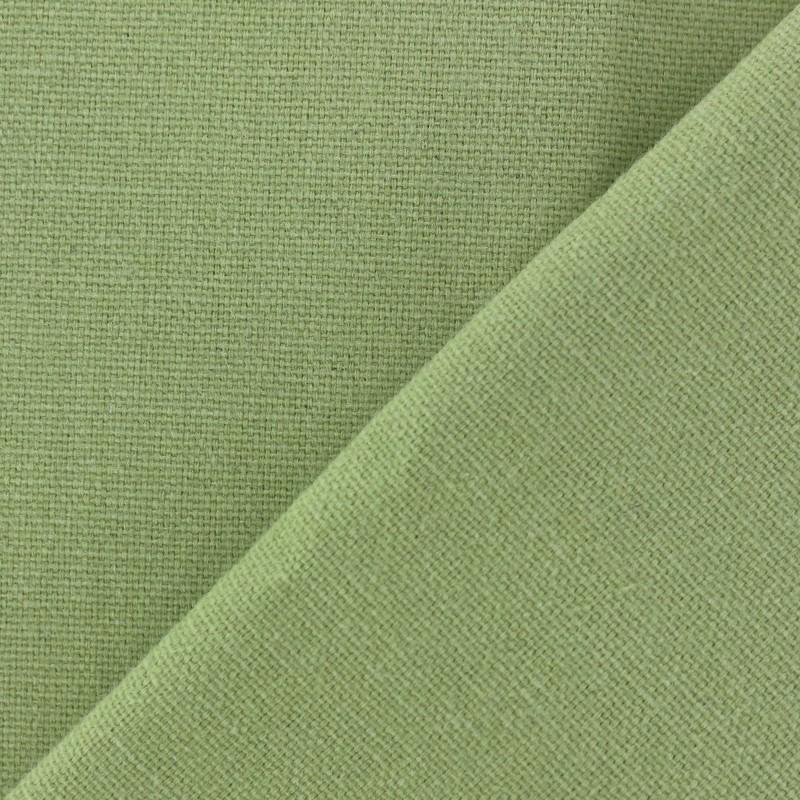 Tissu toile de coton uni demi natt vintage vert clair - Tissu ameublement vintage ...