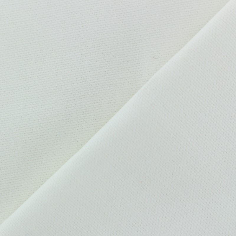 Tissu toile de coton uni demi natt vintage blanc - Tissu ameublement vintage ...