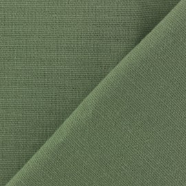 Tissu toile de coton uni Demi Natté Vintage - kaki x 10cm
