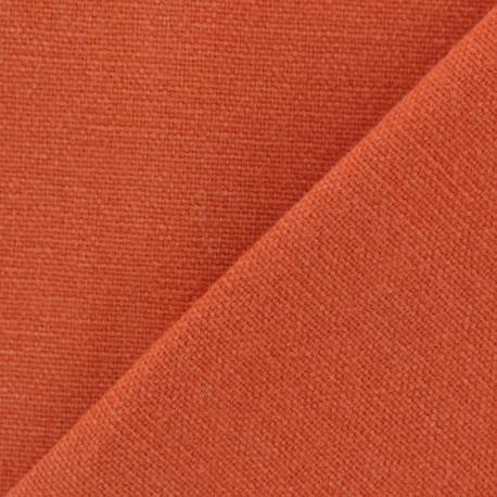 Tissu toile de coton uni Demi Natté Vintage - orange brulée x 10cm