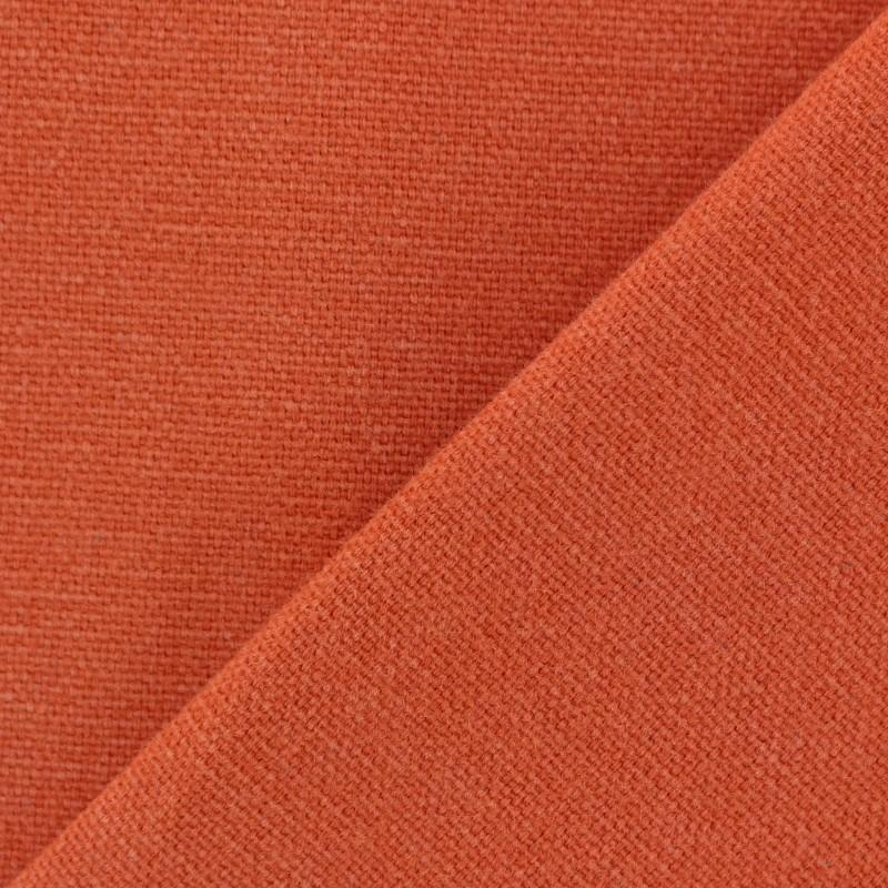 Tissu toile de coton uni demi natt vintage orange brul e - Tissu ameublement vintage ...