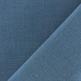 Tissu toile de coton uni Demi Natté Vintage - bleu polaire x 10cm