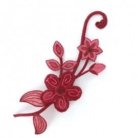 Thermocollant brodé Noël floral - rouge