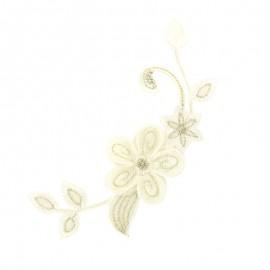 Thermocollant brodé Noël floral - écru