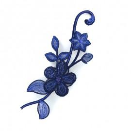 Thermocollant brodé Noël floral - bleu marine