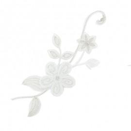 Thermocollant brodé Noël floral - blanc