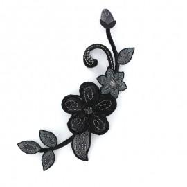 Thermocollant brodé Noël floral moyen - noir