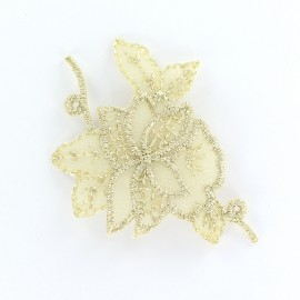 Thermocollant brodé Noël floral petit - doré clair