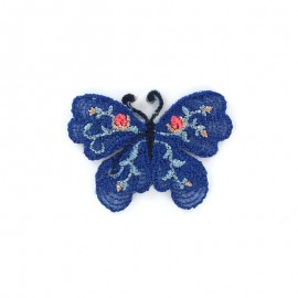 Thermocollant brodé Ornement papillon - bleu