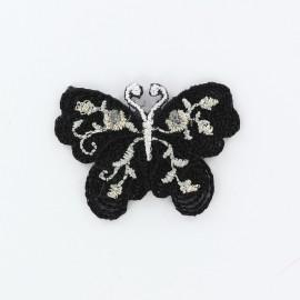Thermocollant brodé Ornement papillon - noir