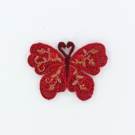 Thermocollant brodé Ornement papillon - rouge