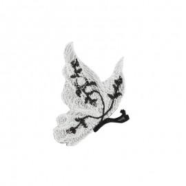Thermocollant brodé Ornement papillon - blanc a