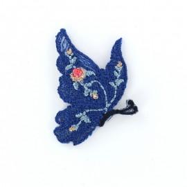 Thermocollant brodé Ornement papillon - bleu a