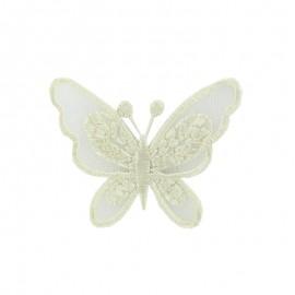 Thermocollant brodé Ornement papillon broderie - écru