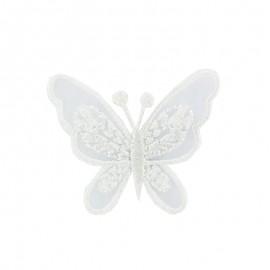 Thermocollant brodé Ornement papillon broderie - blanc