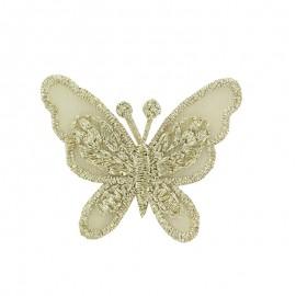 Thermocollant brodé Ornement papillon broderie - doré